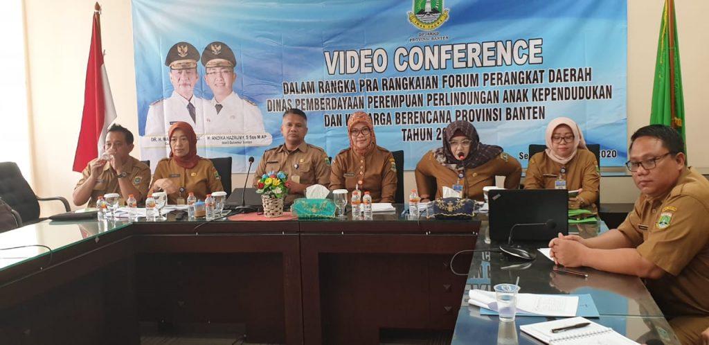 Video Conference dengan Para Kadis KabupatenKota (PPPA, Dalduk KB dan dukcapil) se Provinsi Banten